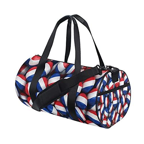 Borsone da palestra, rendering 3D di palloni da calcio olandesi, borsa da viaggio da palestra con scomparto per scarpe e tasca bagnata, per donne o uomini