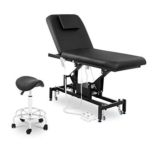 physa PHYSA LYON BLACK SET-1 Massageliege elektrisch Massagetisch Massagebank Elektrisch 2 Zonen Schwarz Sattelstuhl 2 Motoren Fußpedal schwarz