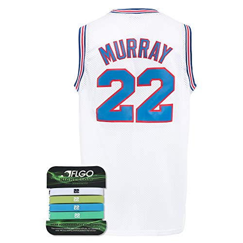 AFLGO Murray #22 Space Basketball Jersey S-XXL 90S Movie Hip Hop Party Clothing Include Set Wristbands - White, XX-Large