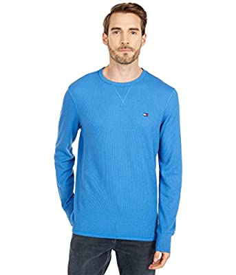 Tommy Hilfiger Men's Thermal Long Sleeve Crew Neck Shirt, Slate Blue, LG