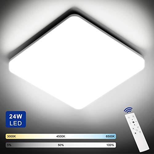 NIXIUKOL Plafon LED Techo Regulable 24W con Mando a Distáncia, Lámpara de Techo Temperatura Regulable(3000K-6500K), IP54...