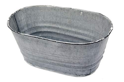 Steingaesser Zink Pflanzschale 20x13x12cm Wave Blumentopf Zinktopf grau Weiss Zinkschale oval Jardiniere Metallschale Gartendeko Pflanzkübel Nostalgie Vintage Shabby Chic