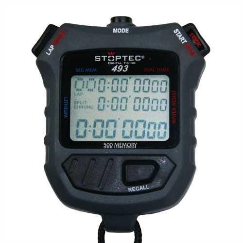 Stoptec Stoppuhr 493 (500 File Memory|Uhrzeit|Dual Timer) Digital Profi Stoppuhr mit Druckpunktmechanik | einfacher Batteriewechsel | spritzwasserfest