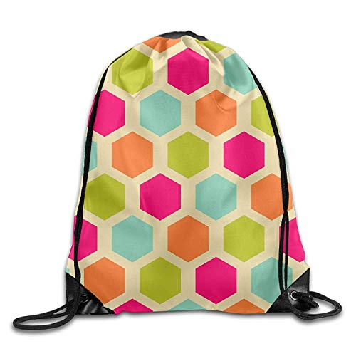 ZHIZIQIU Gym Drawstring Bags Vintage Hexagon Pattern Draw Rope Shopping Travel Backpack Tote Student Camping