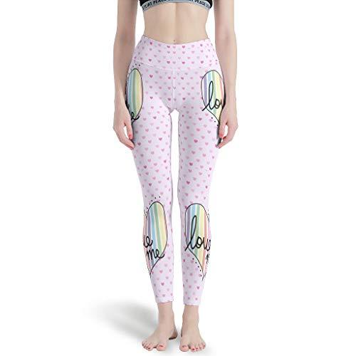 Gamoii Leggings deportivos para mujer, diseño de arcoíris y corazones, color rosa, cintura alta, elásticos, para yoga blanco L