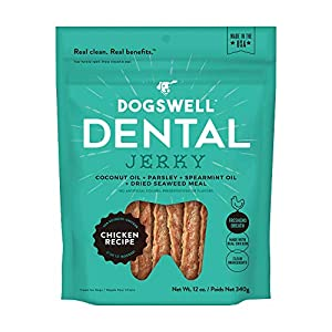 DOGSWELL Dog Dental Care Treats Made in USA Only, Grain Free Chicken Jerky Dog Treats, 12oz Bag