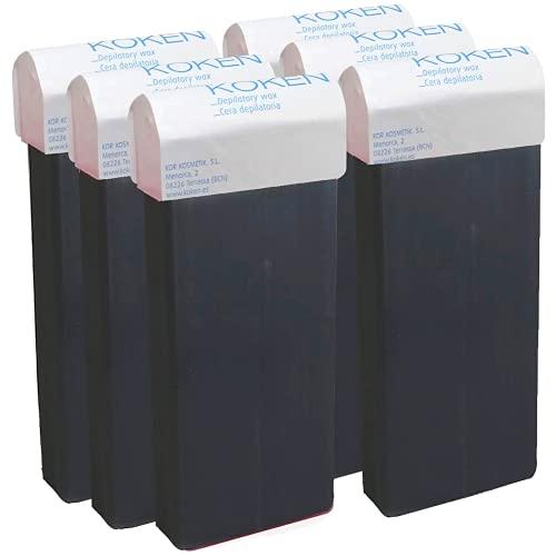 KOKEN - Cera Depilatoria Roll-on 100ml Universal - Pack 6 Cartuchos Azuleno (Resinas 100% Españolas)