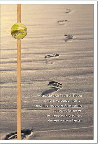 metALUm Danksagungskarten TRAUER | Spuren im Sand | 10 Karten | 1501004S