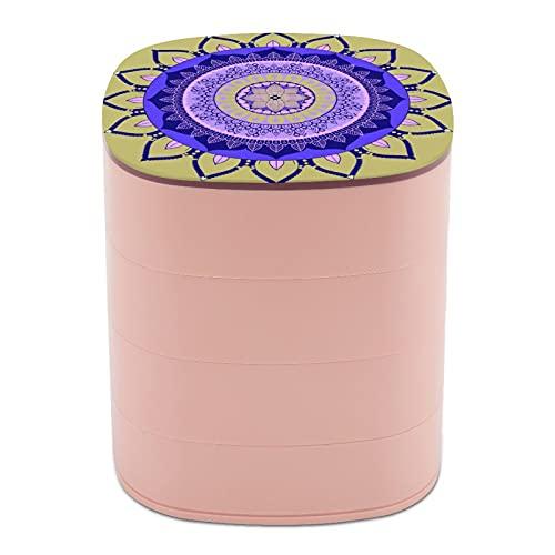 Rotar la caja de joyería con arte clásico étnico textura gráfica Mandala cajas de joyería con espejo, estuches de joyería a granel, soporte de joyería de diseño multicapa para mujeres, niñas y niños