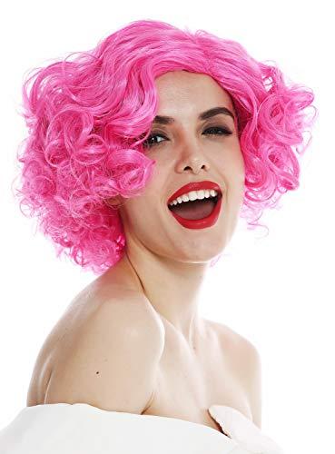 WIG ME UP - 1352-ZAC5B Perücke Damenperücke Karneval Halloween kurz Mittelscheitel Locken lockig pink rosa 20er 30er Jahre