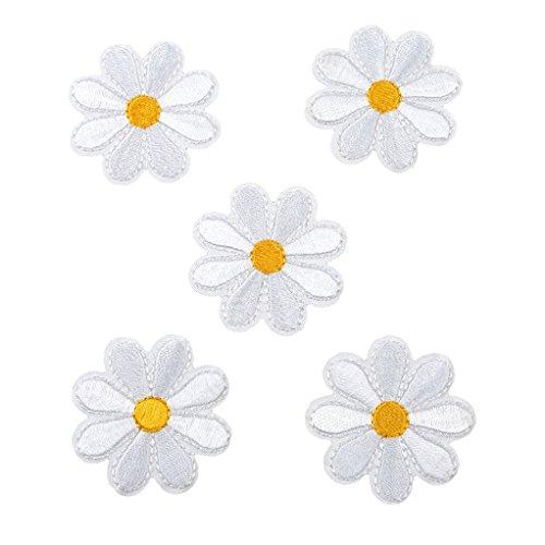 SEVENHOPE 10 Stück Aufbügelbilder Blumen Patches Aufnäher Applikationen Stickerei Weiß Blume Nähen Patch Applikationen