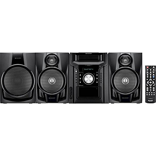 Sharp Bluetooth 350-Watt All-in-One Hi-Fi Audio Stereo Sound System with 5-Disc Multi-Play CD Changer, Cassette Deck, AM/FM Radio Tuner, Remote Control Plus 6ft Kubicle Aux Cable Bundle