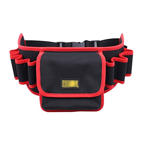 Nvshiyk Multi Pocket Tool Organizer Multifunctional Tool Bag Repair Tool Bag Thickened Oxford Cloth Electrician Tool Storage Bag for Electricians (Color : Red, Size : Hand drill)