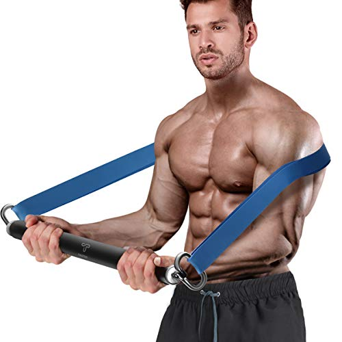 Tikaton Resistance Bar Portable Home Gym, Weightlifting Training Kit, Full Body Workout Equipment, Resistance Band Bar, Ship from US