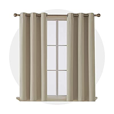 Deconovo Thermal Insulated Room Darkening Curtains Grommet Blackout Curtain Panel for Bedroom 42x63 Inch Beige Set of 4