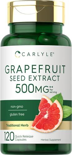 Grapefruit Seed Extract | 500 mg 120 Capsules | Maximum Strength | Non-GMO, Gluten Free | Carlyle