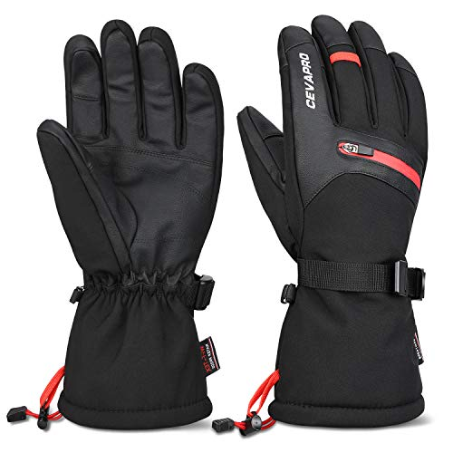 Cevapro -40 Winter Gloves Waterproof Ski Gloves 3M Thinsulate Snowboarding Gloves (Black, L)