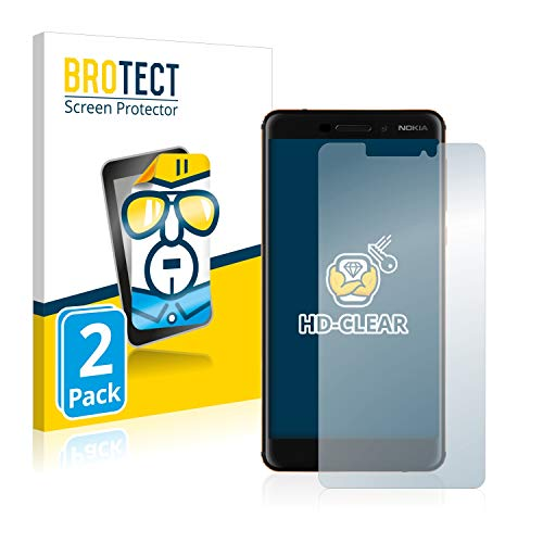 BROTECT Schutzfolie kompatibel mit Nokia 6.1/6 2018 (2 Stück) klare Bildschirmschutz-Folie
