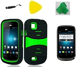 Black w Green Hybrid Armor w Kickstand Phone Case Cover Cell Phone Accessory + EXTREME Band + Yellow Pry Tool + Stylus Pen + Screen Protector for AT&T Avail 2 / ZTE Avail 2 Z992
