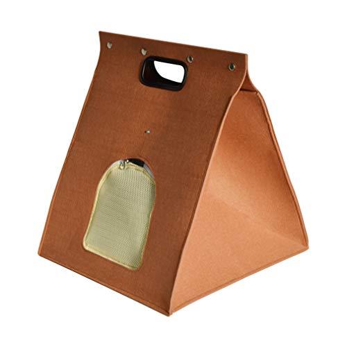 Yinew Abnehmbarer Katzenschlafsack fühlte Sich tragbare Kätzchen-Handtaschen-Haustier-warmes Bett für Innen- / im Freien, Schokoladen-Farbe an