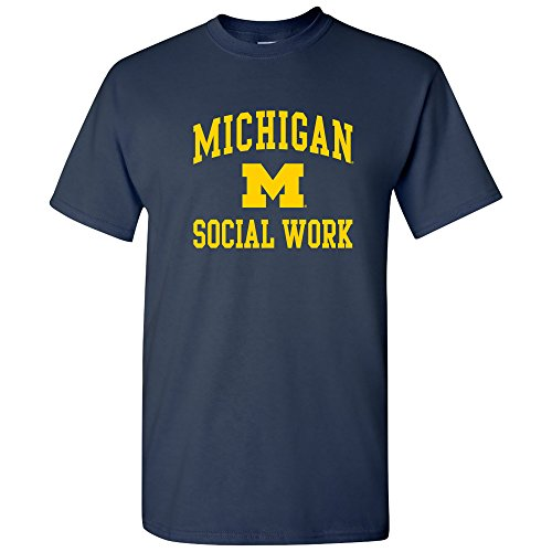 UM-760 - Michigan Wolverines Arch Logo Social Work T-Shirt - Medium - Navy