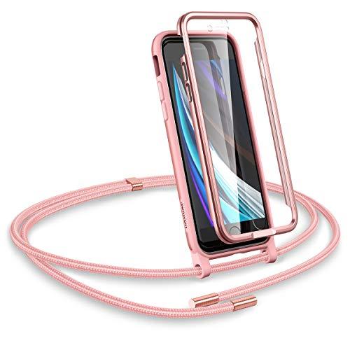 SURITCH Funda con Cuerda para iPhone SE 2020/iPhone 7/8, Carcasa TPU Silicona Case con Protector de Pantalla con Colgante Ajustable Collar Correa de Cuello Cordón para iPhone SE 2020 (Oro Rosa)