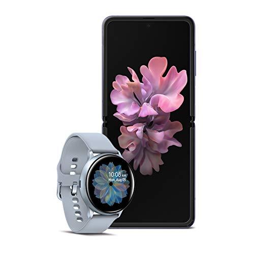 Samsung galaxy z flip factory unlocked 256gb,mirror purple with galaxy watch active2 w/enhanced sleep tracking analysis,silver