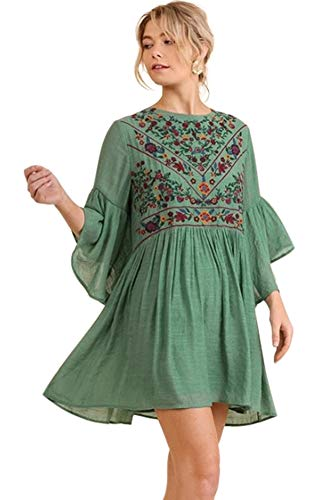 Umgee Boho Bliss! Embroirdered Bell Sleeve Dress (Large, sage)