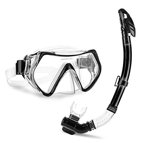 CAMTOA Set Snorkeling, Maschera da Immersione, Antiappannamento, Maschera Nero