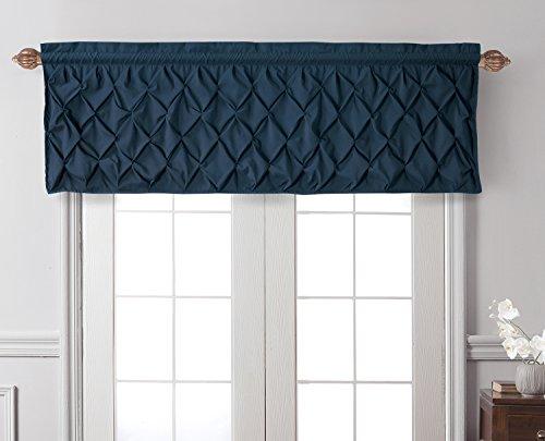 VCNY Home Carmen Window Curtain Valance Set with Rod Pocket - Lattice-Smocked Diamond Design Dressing Treatment - Bedding and Kitchen, 60x20, Navy