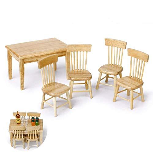 GGOOD 5pcs Miniatur Esstisch Stuhl Holzmöbel-Set Für 01.12 Puppenhaus - Holzfarbe