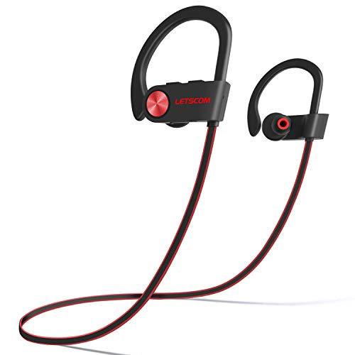 LETSCOM Bluetooth Headphones IPX7 Waterproof, Wireless Sport Earphones, HiFi Bass Stereo Sweatproof Earbuds w/Mic, Noise Cancelling Headset for Workout, Running, Gym, 8 Hours Play Time, RedBlack