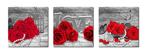 Rtriel Red Rose Canvas Wall Art Romantic Flowers Prints Black and White Floral Pictures for Bathroom Bedroom Home Decor 12 x 12 Inches 3 Pieces