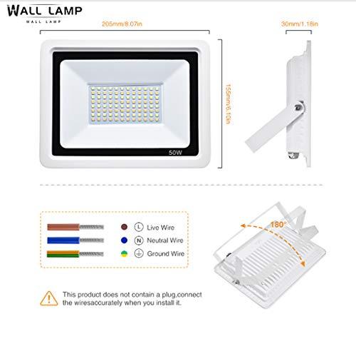 Wall lamp Luz De Inundación 50WLED IP65 Luz De Jardín Impermeable Al Aire Libre 120 Grados Gran Ángulo 6000K Luz De Trabajo De Luz Blanca Fría, Adecuada para Garaje De Patio