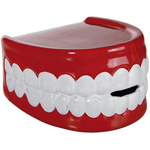 marion10020 Keramik-Spardose Spar-Dose Sparbox Sparbüchse Money Box Gebiss Rot/Weiß