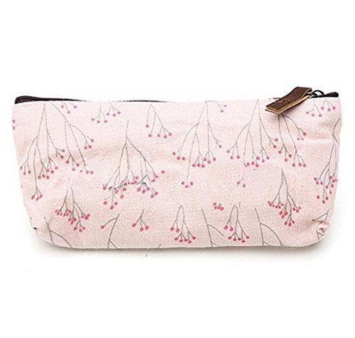 SAMGU Rétro Fleur Floral Crayon Pen Toile Sac Maquillage Cosmetic Purse Pochette de Rangement Couleur Pink