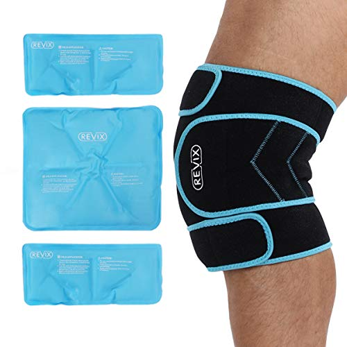REVIX Ice Pack for Knee Pain Relief Reusable Ice Wrap with Cold Compression Brace Around Entire Knee for Muscle, Injury, Meniscus and Surgery Recovery, 3 Gel Packs & A Neoprene Support Strap