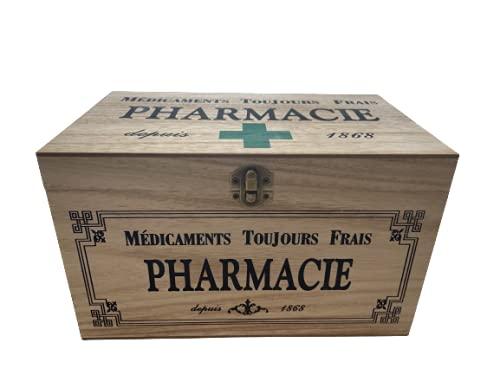 khevga Aufbewahrungsbox mit Deckel: Holz-Box Medikamente Deko (25 x 15 x 15 cm Gruen)