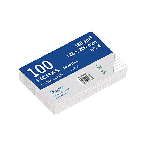 Dohe 30363 - Pack de 100 fichas rayadas de cartulina blanca, 180 g, nº 4, 125 x 200 mm