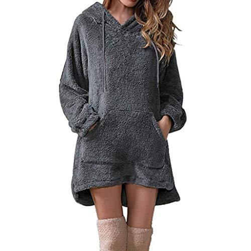 KPPONG Damen Kapuzenpullover Lang Hoodie, Pullover Teddy-Fleece Winter Kapuzenpullover Sweatshirt Hooded Warm Plüsch Pulli Pulloverkleid