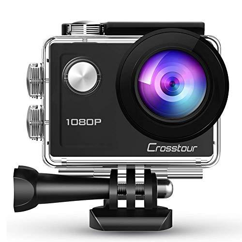 Crosstour Action Camera 1080p Full HD 14MP anti-shake time-lapse registrazione 29,9m impermeabile 170° grandangolare sport fotocamera con supporto di montaggio