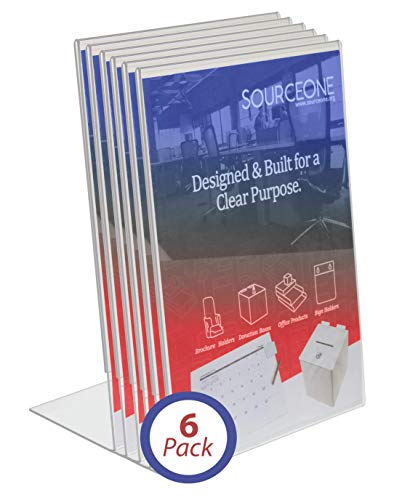 SOURCEONE.ORG Acrylic 4 x 6 Slanted Sign Holders (6 Pack)