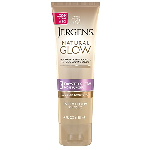 Jergens Natural Glow 3-Day Sunless Tanning Lotion, Self Tanner, Fair to Medium Skin Tone, Sunless Tanning Daily Moisturizer, for Streak-free Color, 4 Ounce