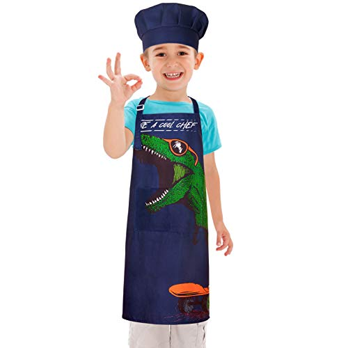 ICOSY Kids Apron for Boys Cooking Apron Toddler Kids Dinosaur Shark Kitchen Apron and Chef Hat Set with 2 Pockets