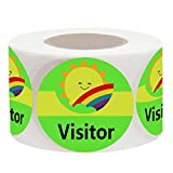 Visitor Identification Labels Stickers,1.5 inch Sunshine Happy Face Visitor Identification Labels Stickers (500 Fluorescent Green Labels)
