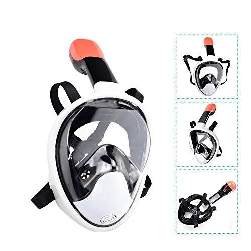 ZHUYUE Comfortabel duikmasker volgelaats-snorkelmasker tegen beslaan zwemmen duikmasker professioneel verstelbaar (kleur: wit, maat: S/M)