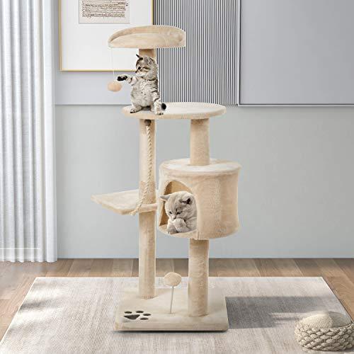 CUDU Katzen Kratzbaum mit Höhle, Sisalstämmen,Spielseil & Spielbälle , Kleiner Katzenbaum, Stabiler Katzenbaum (Beige)