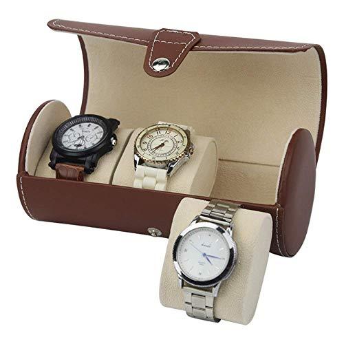 Suytan Caja de Reloj el Reloj Cilíndrico Portátil de Cuero de la Pu Muestra 3 Cajas de Maletas con Pintura de Piano para Uso Personal Y Caja de Reloj de Exhibición en la Tienda,Marrón,Talla Única