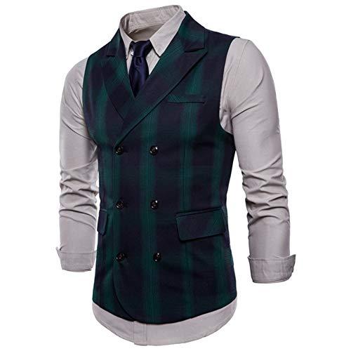 MYLJX Herren Doppelreihige Business Weste Weste V-Ausschnitt Slim Fit Weste Anzug formelle Hochzeit, grün, L