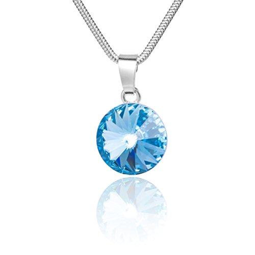 LillyMarie Damen Hals-Silberkette Silber 925 original Swarovski Elements rund hellblau Schmuck Etui Geschenk für Freundin